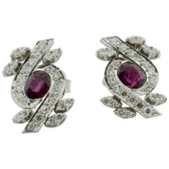 Ruby and Diamond Earrings circa 1930s in Platinum