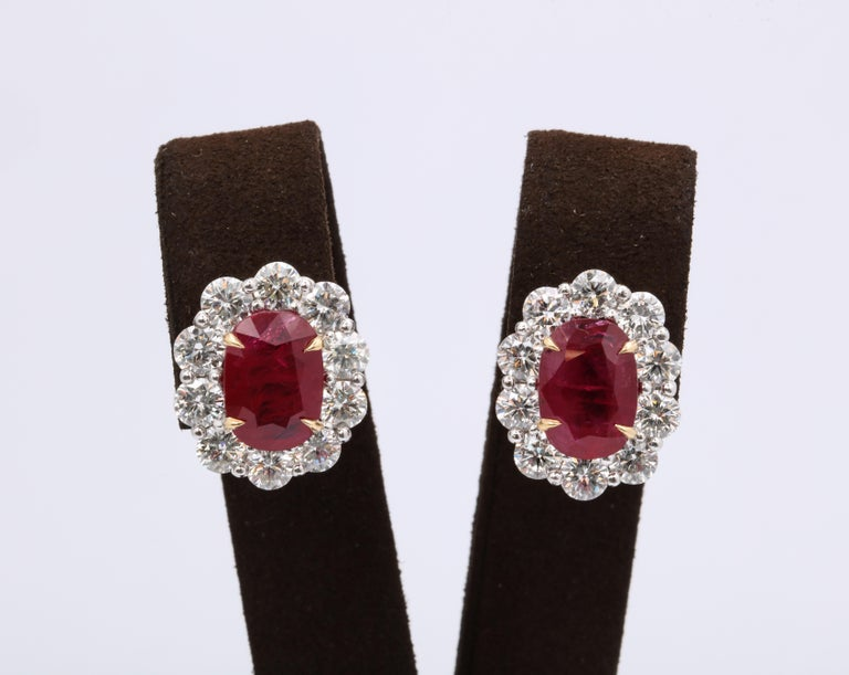 Classic Ruby and Diamond Earrings  10.16 carats