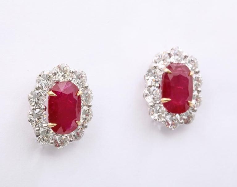 Women's or Men's Ruby and Diamond Earrings For Sale
