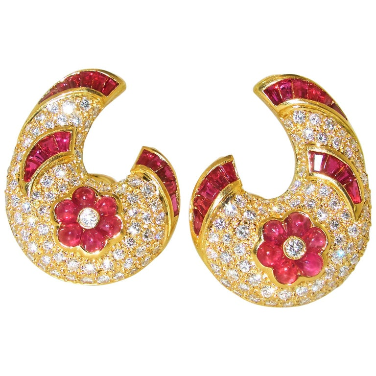 Ruby and Diamond Earrings 1
