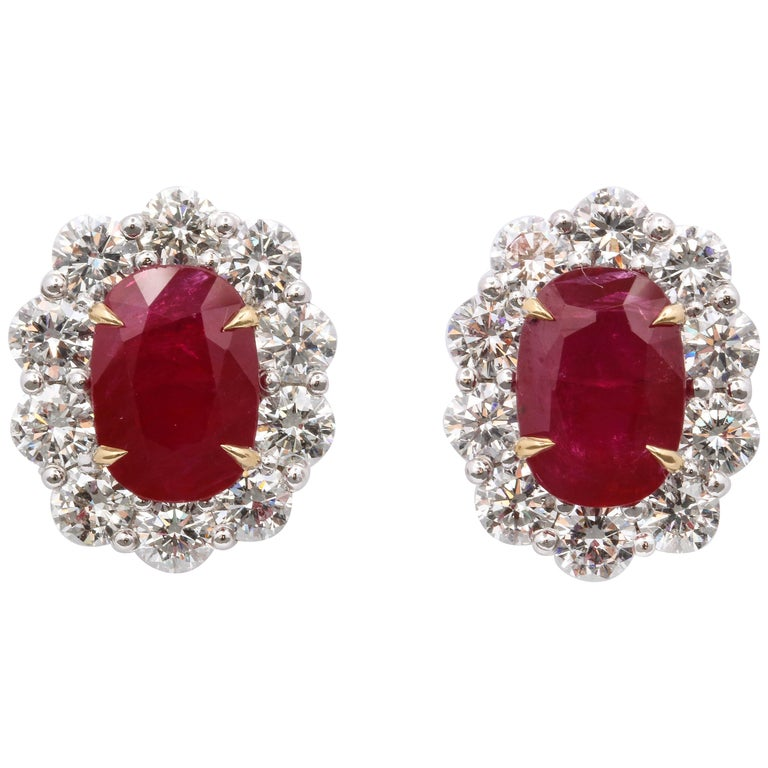 Ruby and Diamond Earrings For Sale