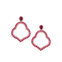 Ruby and Diamond Earrings in 18 Karat Rose Gold