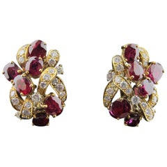 Ruby and Diamond Earrings Set in 18 Karat Yellow Gold