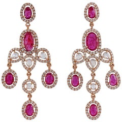 Ruby and Diamond Earrings Studded in 18 Karat Rose Gold