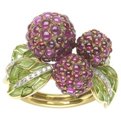 Ruby and Diamond Enamel Raspberry Ring
