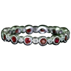 Ruby and Diamond Eternity Band 14k Cocktail Ring Vintage Style