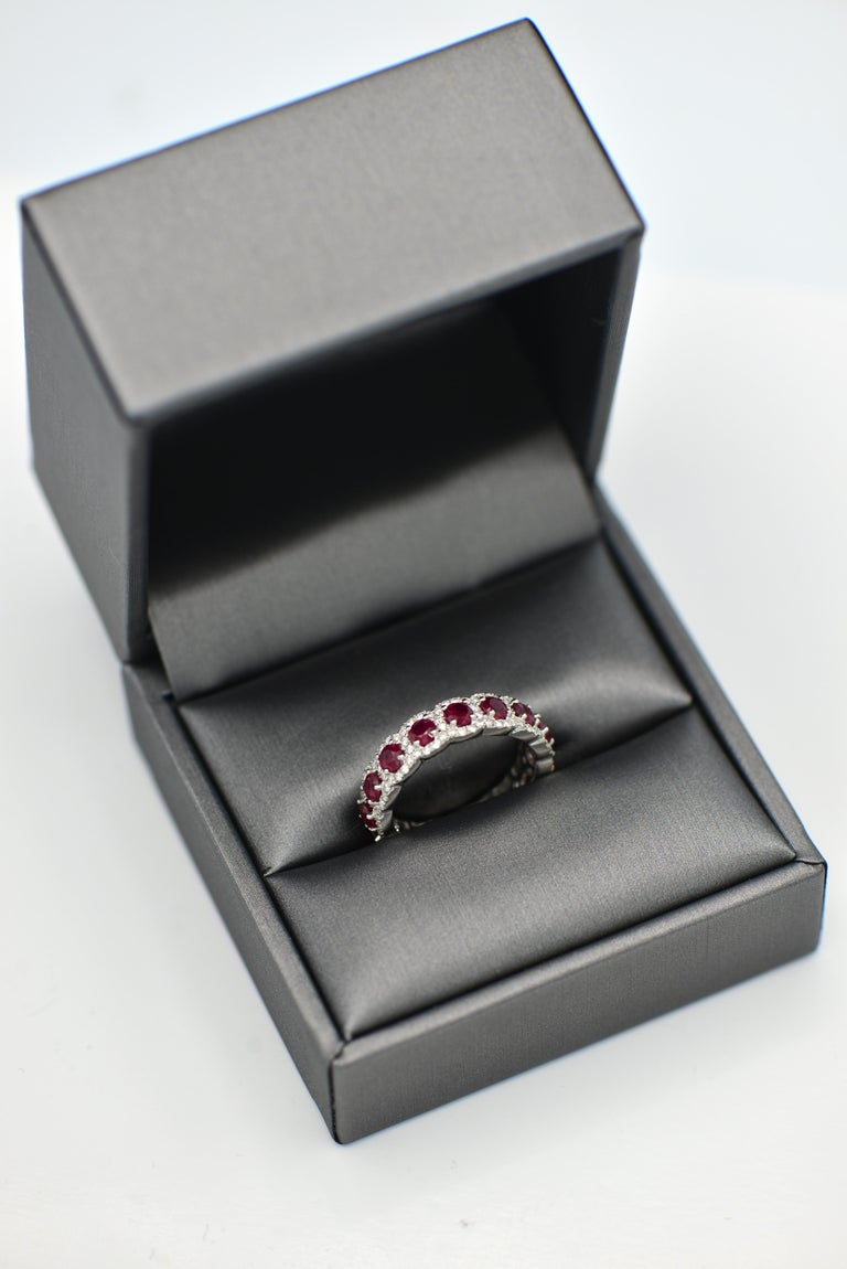 Contemporary Ruby and Diamond Eternity Band For Sale