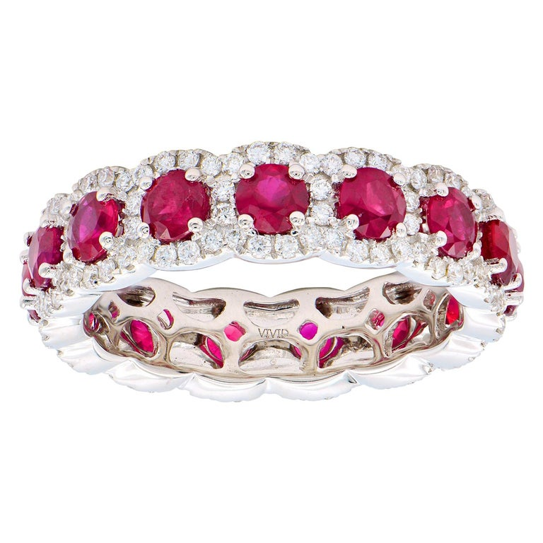 Ruby and Diamond Eternity Band For Sale