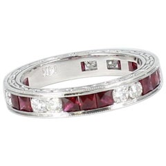 Ruby and Diamond Eternity Band in 14 Karat White Gold