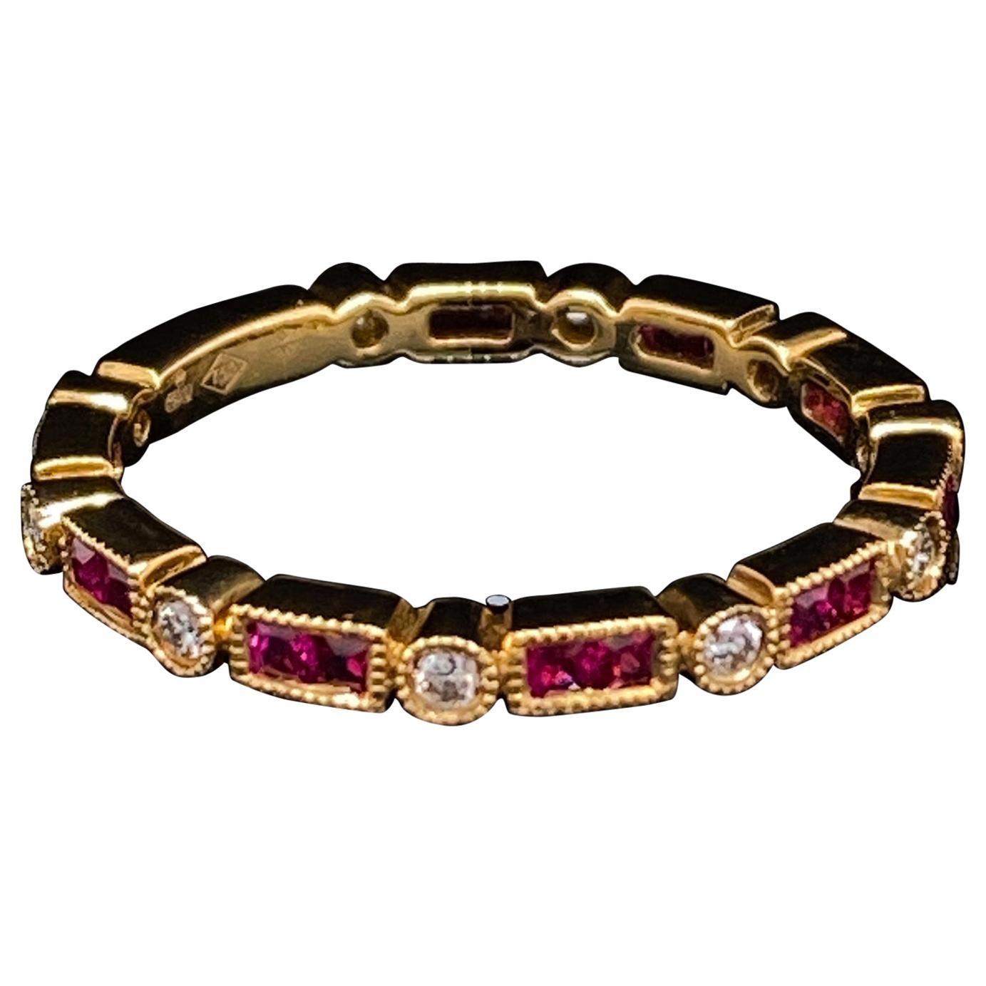 Ruby and Diamond Eternity Ring 18 Karat Yellow Gold