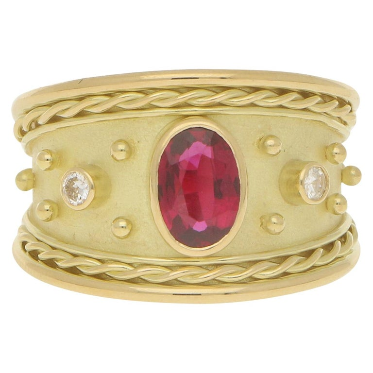 Ruby and Diamond Etruscan Cocktail Dress Ring Set in 18 Karat Yellow Gold For Sale