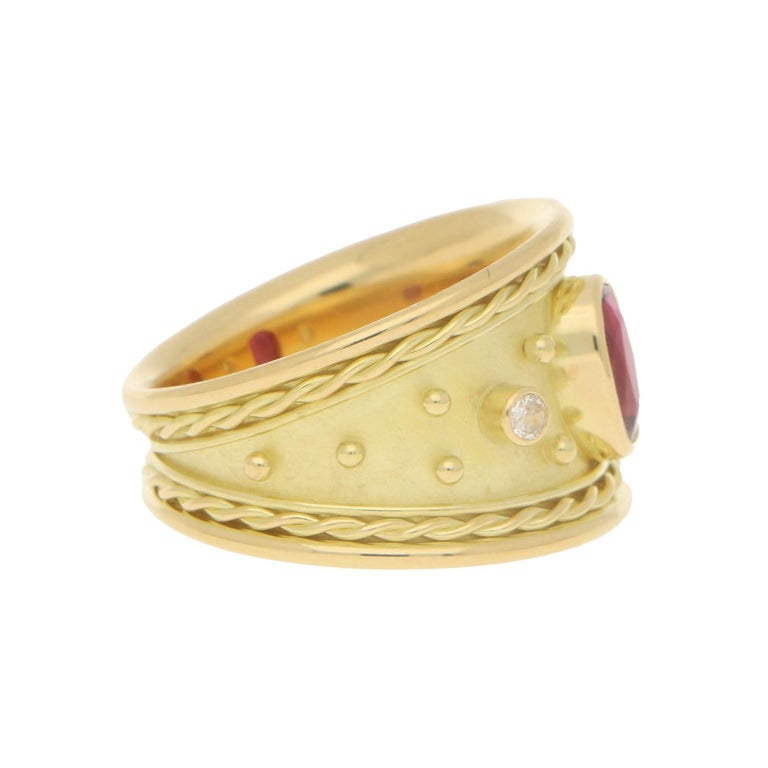 Etruscan Revival Ruby and Diamond Etruscan Cocktail Dress Ring Set in 18 Karat Yellow Gold For Sale