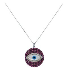 Ruby and Diamond Evil Eye Pendant Necklace