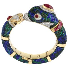 Ruby and Diamond Fish Bangle by David Webb
