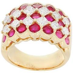 Ruby and Diamond Five Row Ring, 18 Karat Yellow Gold