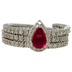 Ruby and Diamond Flexible Ring in 14 Karat White Gold