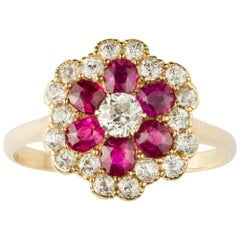 Ruby and Diamond Floral Cluster Ring