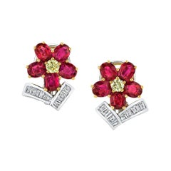Ruby and Diamond Floral Earrings, 18 Karat White and Yellow Gold