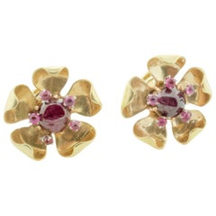 Ruby and Diamond Floral Earrings in Yellow Gold, circa 1940s