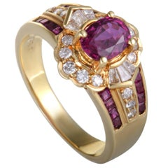Ruby and Diamond Floral Gold Band Ring