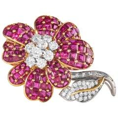 Ruby and Diamond Flower Brooch, Signed Oscar Heyman Brothers