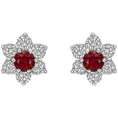 Ruby and Diamond Flower Cluster Stud Earrings