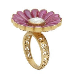 Ruby and Diamond Flower Cocktail Ring Handcrafted in 18 Karat Yellow Gold