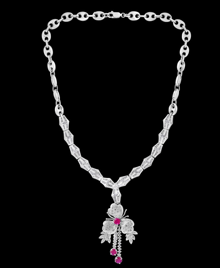 Round Cut Ruby and Diamond Flower Drop Necklace 14 Karat White Gold For Sale