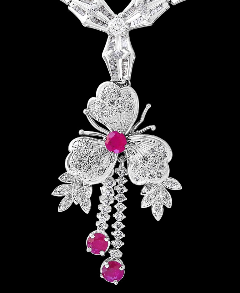 Ruby and Diamond Flower Drop Necklace 14 Karat White Gold In Excellent Condition For Sale In New York, NY