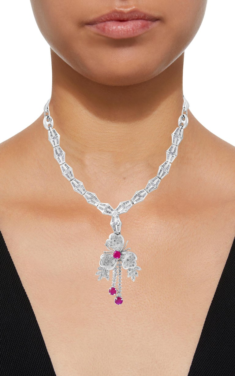 Ruby and Diamond Flower Drop Necklace 14 Karat White Gold For Sale 1