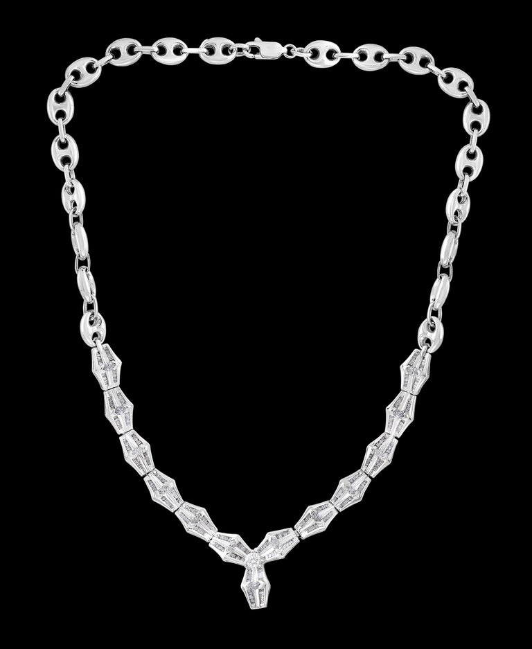 Ruby and Diamond Flower Drop Necklace 14 Karat White Gold For Sale 2