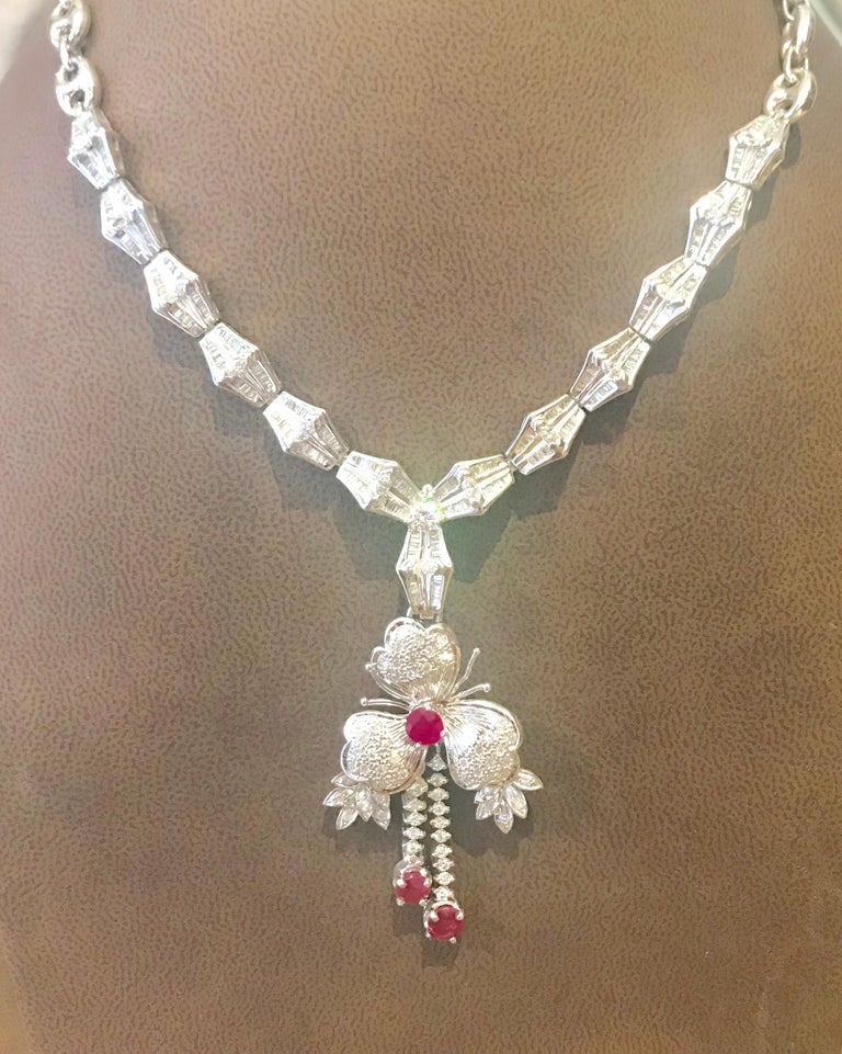 Ruby and Diamond Flower Drop Necklace 14 Karat White Gold For Sale 3
