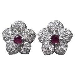Ruby and Diamond Flower Earrings