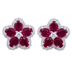 Ruby and Diamond Flower Earrings set in 18K