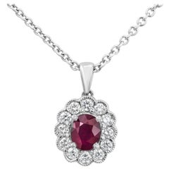 Ruby and Diamond Flower Pendant Necklace