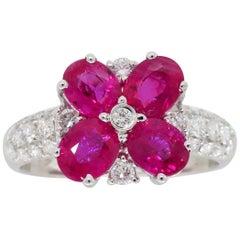 Ruby and Diamond Flower Ring in 18 Karat White Gold