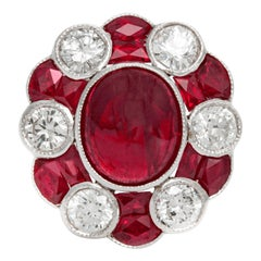 Ruby and Diamond Flower Shape Ring