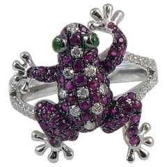 Ruby and Diamond Frog Ring, 18 Carat Gold