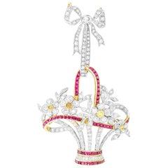 Ruby and Diamond Giardinetto Pendant/Brooch