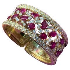 Ruby and Diamond Gold Bangle Bracelet