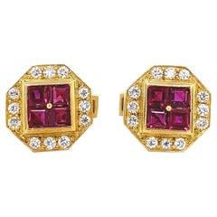 Ruby and Diamond Gold Cufflinks Estate Fine Jewelry