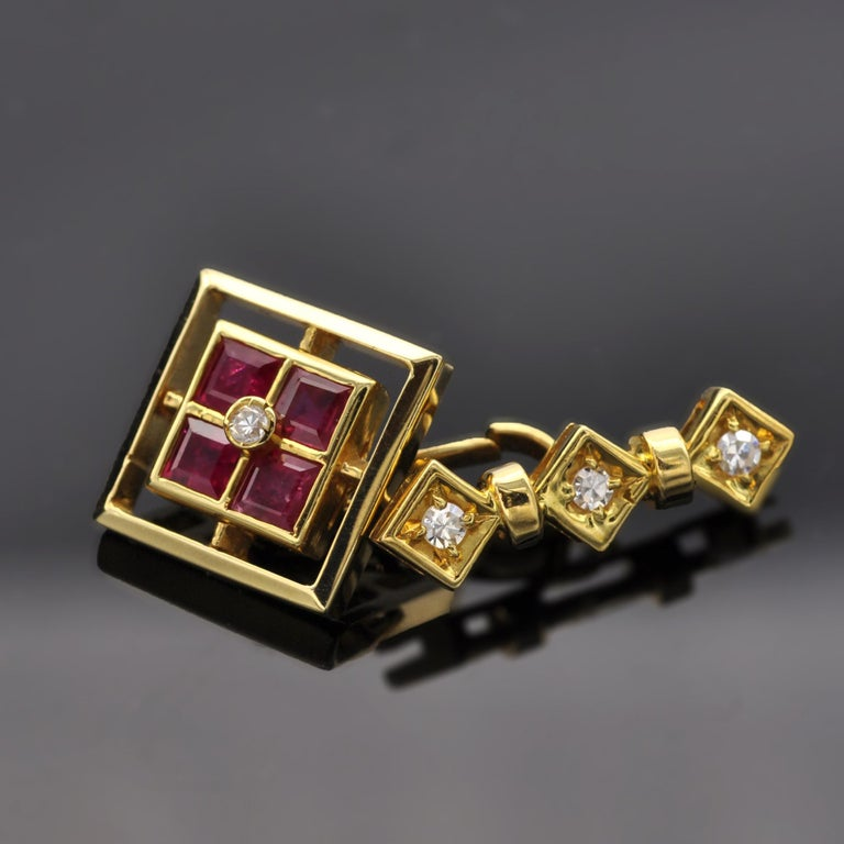 Contemporary Ruby and Diamond 18 Karat Gold Cufflinks For Sale