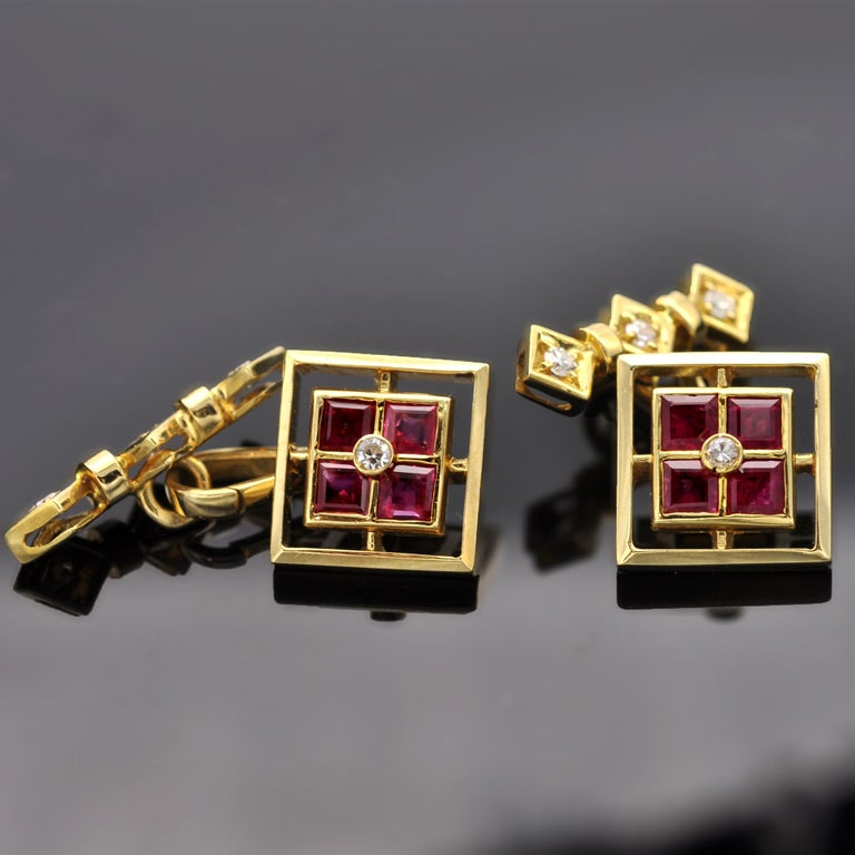 Ruby and Diamond 18 Karat Gold Cufflinks In New Condition For Sale In Monte Carlo, MC