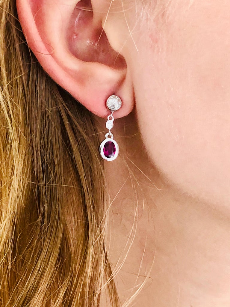 Round Cut Ruby and Diamond Gold Drop Earrings For Sale