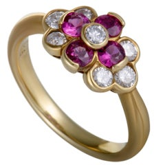 Ruby and Diamond Gold Floral Cluster Ring
