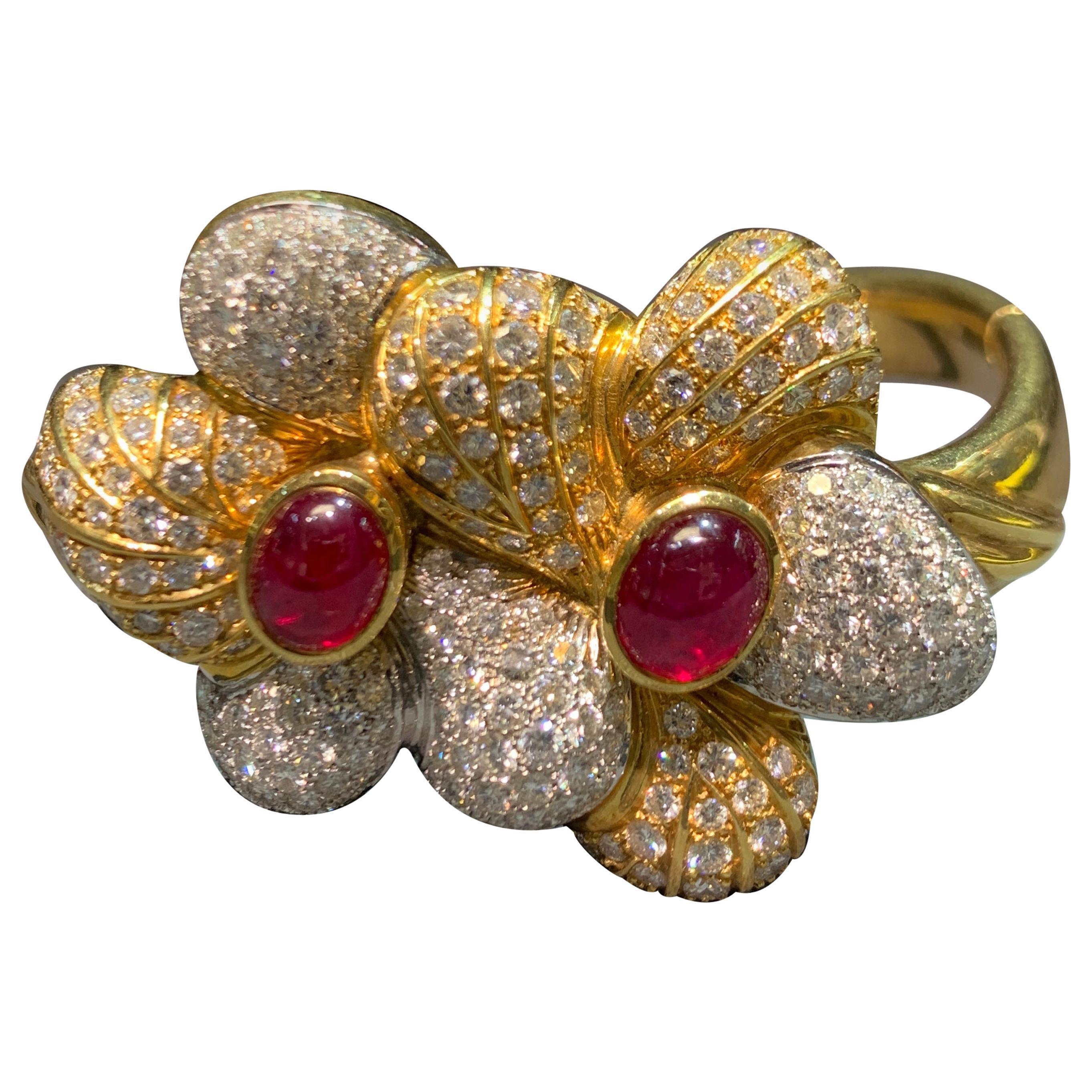 Ruby and Diamond Gold Flower Bangle Bracelet