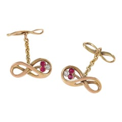 Ruby and Diamond Gold Infinity Cufflinks