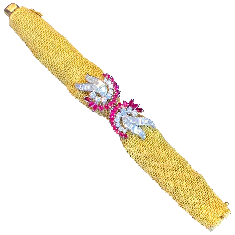 Ruby and Diamond Gold Mesh Bracelet