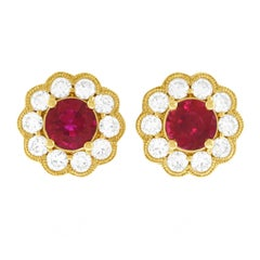 Ruby and Diamond Gold Set Earrings