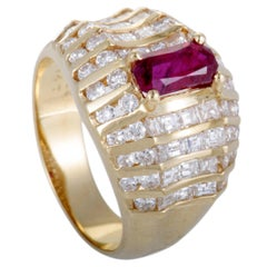 Ruby and Diamond Gold Wide Band Ring
